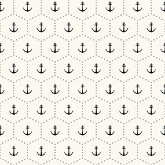 Vector seamless retro pattern with anchors