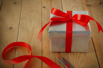 Gift Wrapped with Ribbon on Table