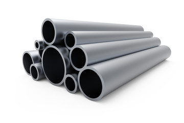 Pile of steel pipes isolated on white background.