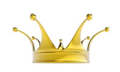 Golden crown isolated on white background.