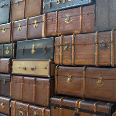 Conceptual picture of the wal of suitcases