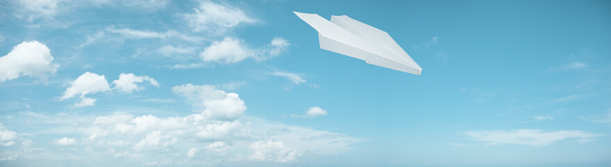 Paper plane in flight