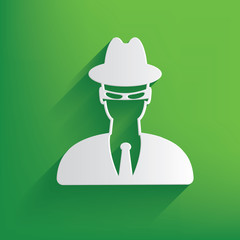 Spy symbol on green background,clean vector