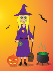 cute cartoon witch - halloween