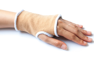 Close-up hand splint for broken bone treatment isolated on white