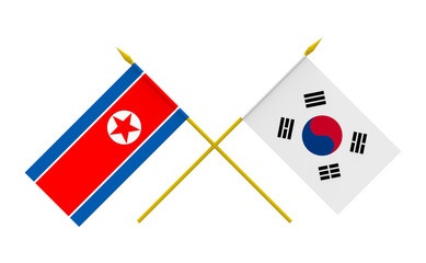 Flags, North Korea and South Korea