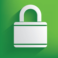 Lock symbol on green background,clean vector