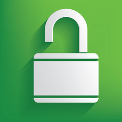 Unlock symbol on green background,clean vector