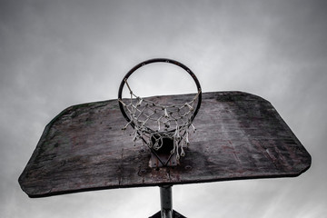 Old basketball hoop and board