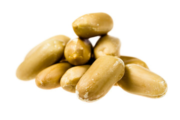 Close up of peanuts isolated on white background