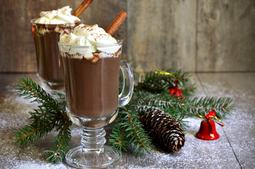 Hot chocolate in a glass.