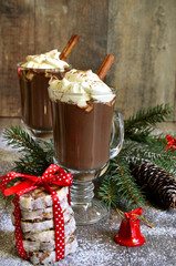 Hot chocolate in a glass.
