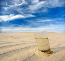 glasses of water in the desert