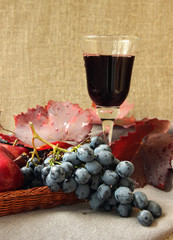 Glass of red wine and bunch of grapes.