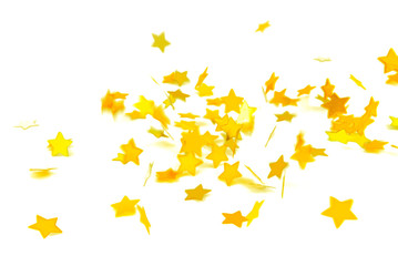 golden confetti  flying isolated on white