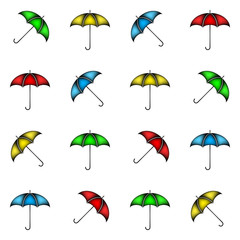 Seamless pattern of colorful umbrellas, background