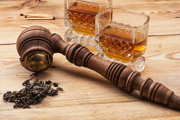 men's set of pipe whiskey vintage style