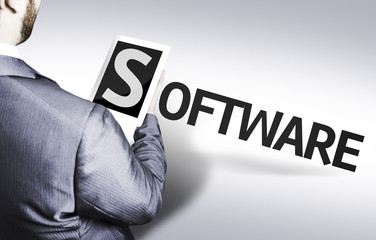 Business man with the text Software in a concept image