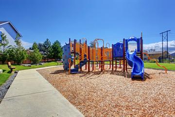Colorful playground in american neighborhood