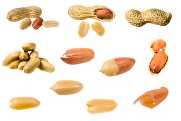 Set of peanuts isolated