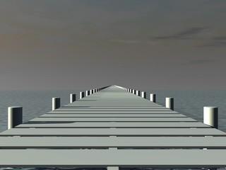 Aanlegsteiger perspectief met verdwijnpunt in het midden