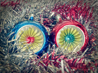 Retro look Christmas bauble and tinsel