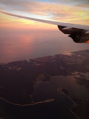 New York aereo tramonto East Hamptons