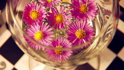 purple flowers in a glass of water