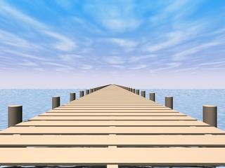 Oneindigheid - loop planken op een zonnige dag