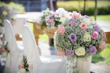 Wedding Chair Covers and Bouquet