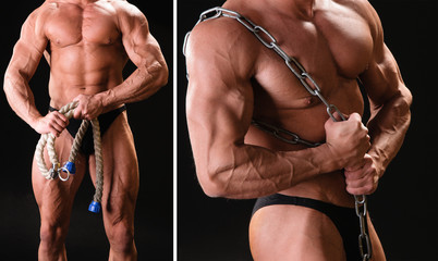 muscular bodybuilder with rope