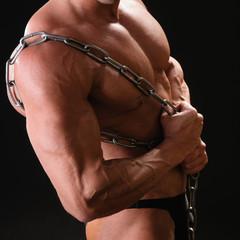 muscular bodybuilder with chain