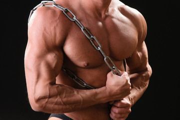 muscular bodybuilder with chain