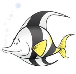 Cute Cartoon Tropical Fish Illustration.