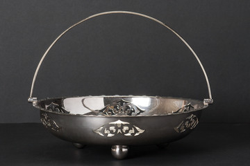 Old Silver Basket With Decorative Stamping Pattern And Carvery