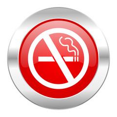 no smoking red circle chrome web icon isolated