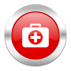 first aid red circle chrome web icon isolated