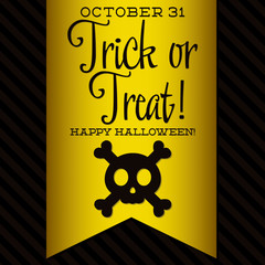 Skull and crossbones Halloween sash card in vector format.