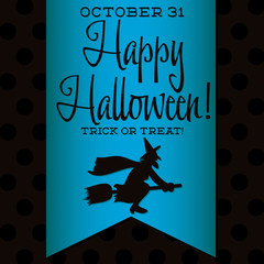 Witch Halloween sash card in vector format.