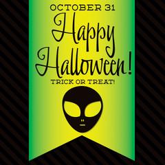 Alien Halloween sash card in vector format.
