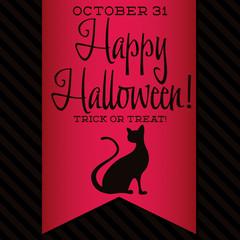 Black cat Halloween sash card in vector format.