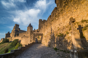 The medieval fortress and walled city of Carcassonne in southwes
