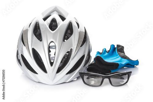 Deurstickers Fietsen Casco gafas y guantes protección seguridad bicicleta ciclismo