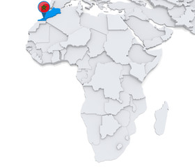 Morocco on a map of Africa
