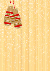 Winter background with mittens