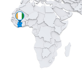 Ivory coast on a map of Africa