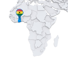 Ghana on a map of Africa