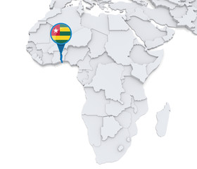 Togo on a map of Africa
