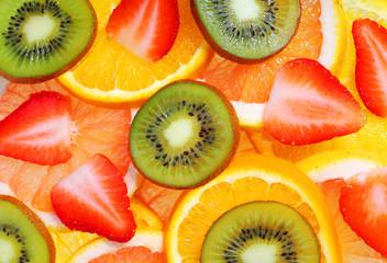 Sliced Fruits. Background.