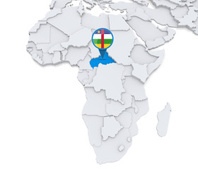 Central african republic on a map of Africa